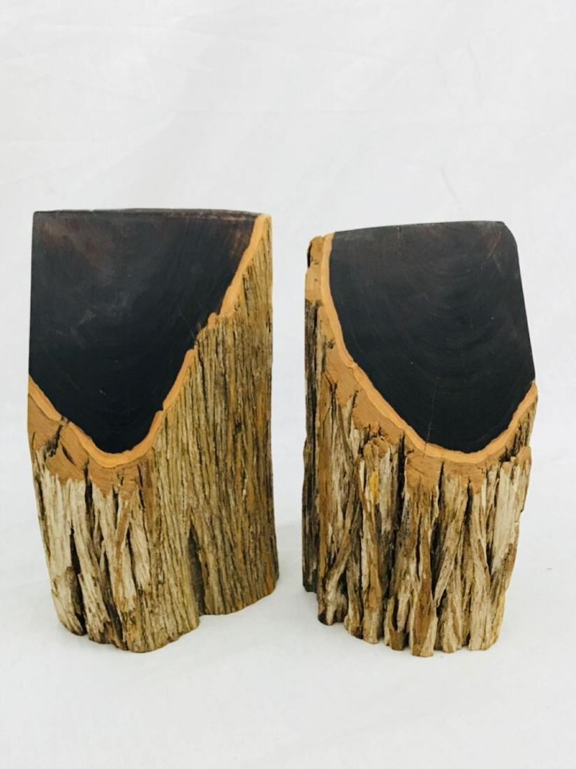 Vintage Unique Exotic Hard Wood Bookends - 4