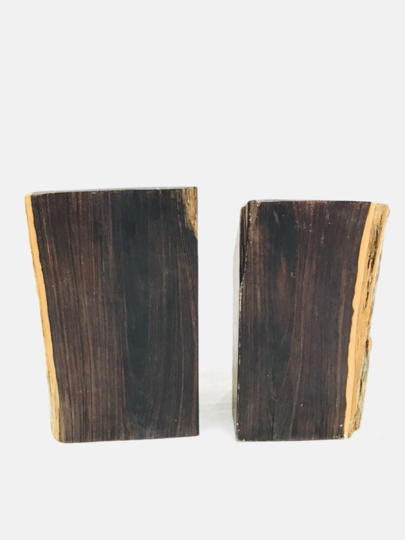 Vintage Unique Exotic Hard Wood Bookends - 5