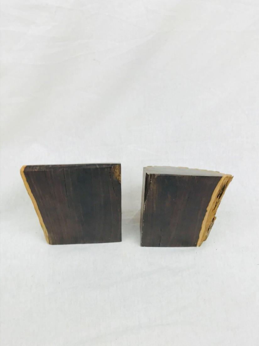 Vintage Unique Exotic Hard Wood Bookends - 6