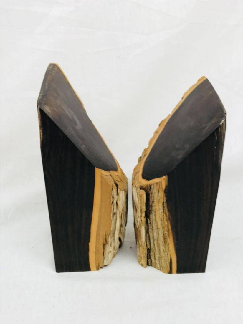 Vintage Unique Exotic Hard Wood Bookends - 7
