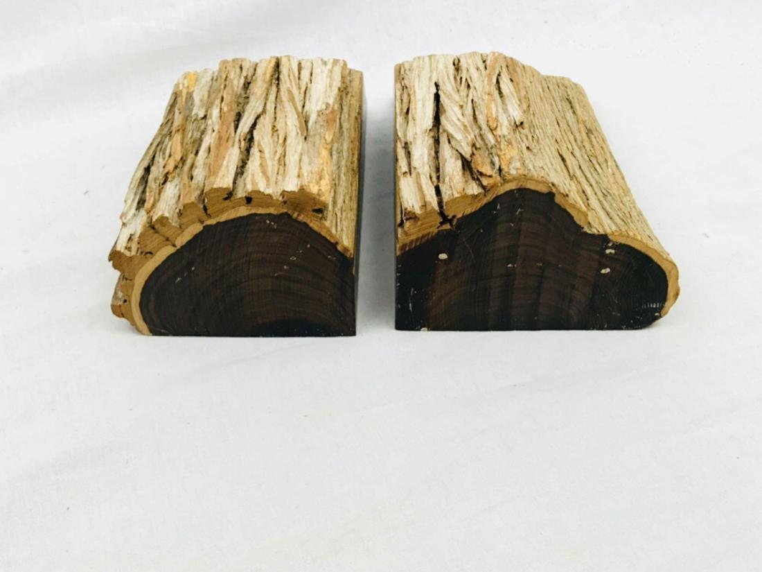 Vintage Unique Exotic Hard Wood Bookends - 8