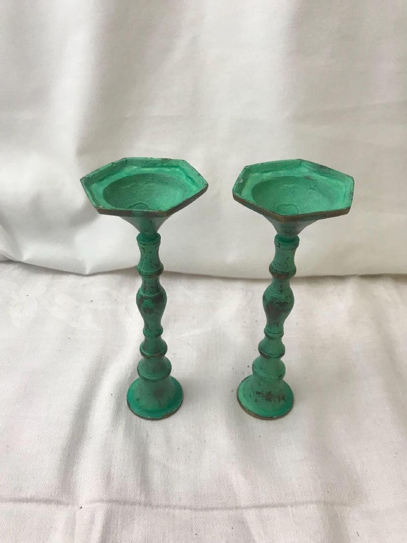 Teal Candle Stick Holders - 4