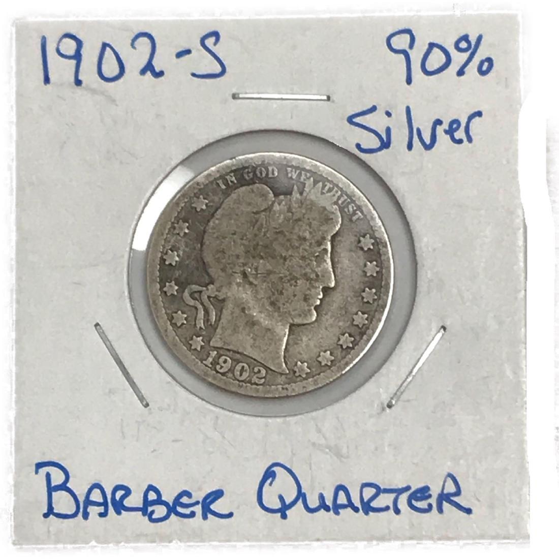 1902-S Barber Quarter Silver Twenty-Five Cent Coin