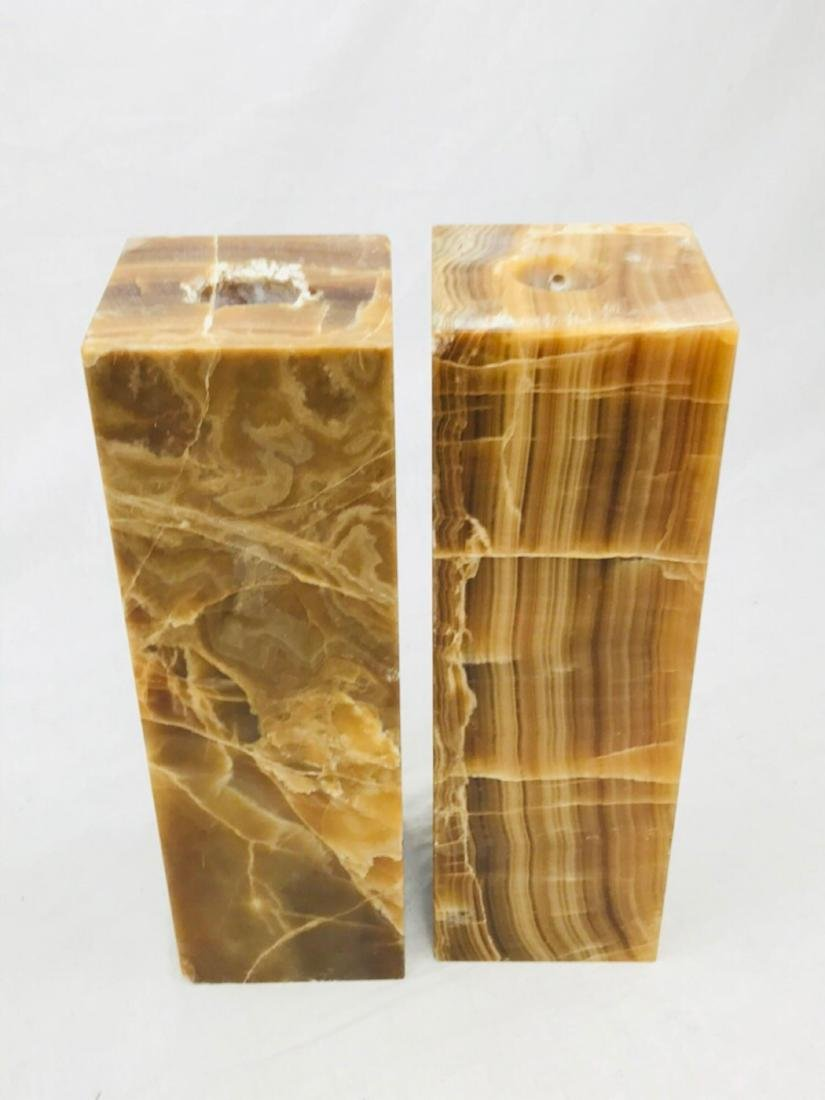 Unique Marble Block Candle Holders - 2
