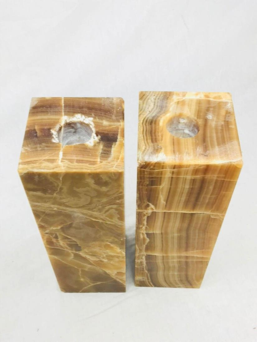 Unique Marble Block Candle Holders - 3