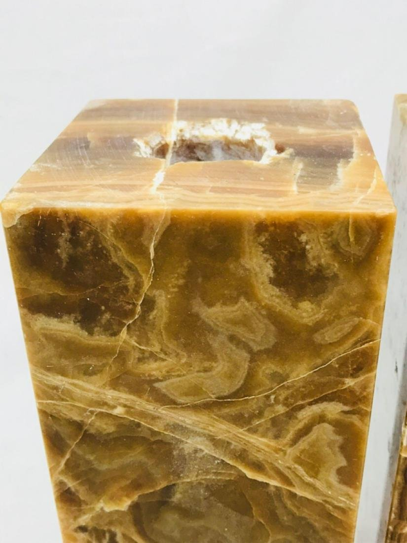 Unique Marble Block Candle Holders - 4