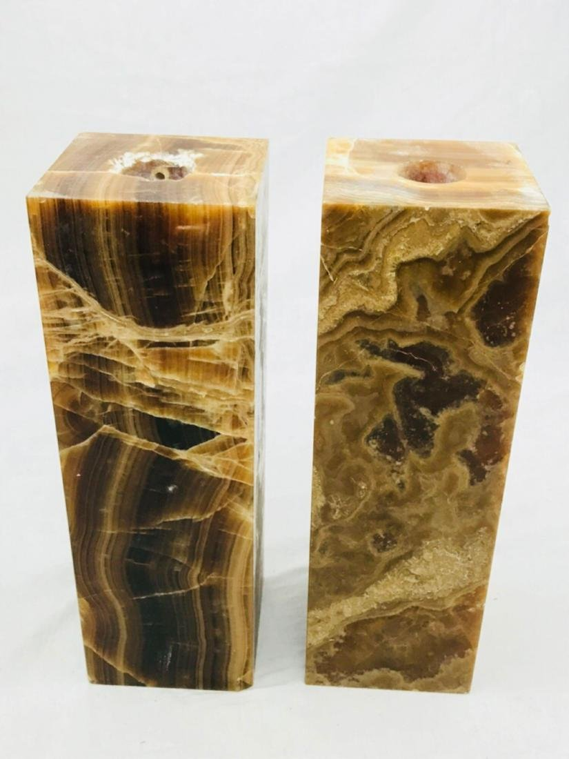 Unique Marble Block Candle Holders - 7