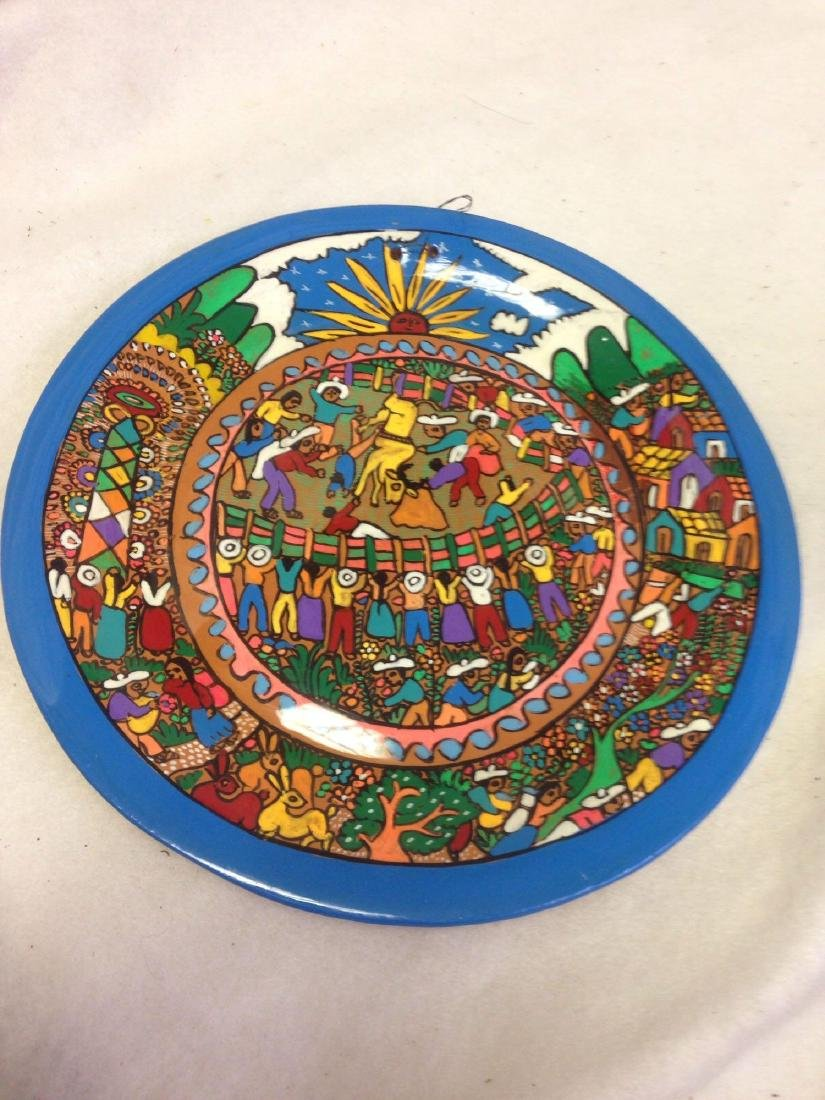 fun Mexican hand-painted plate Terra Cotta