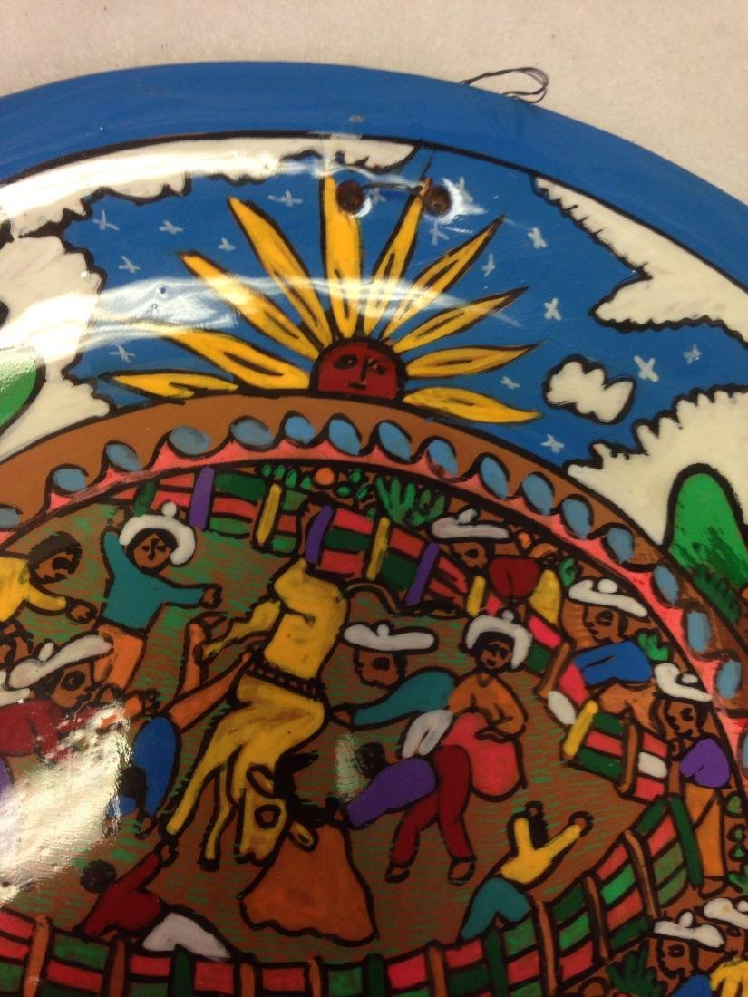 fun Mexican hand-painted plate Terra Cotta - 3