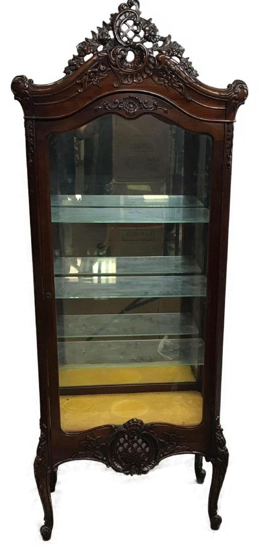 Antique Victorian Mahogany and Glass Curio Cabinet