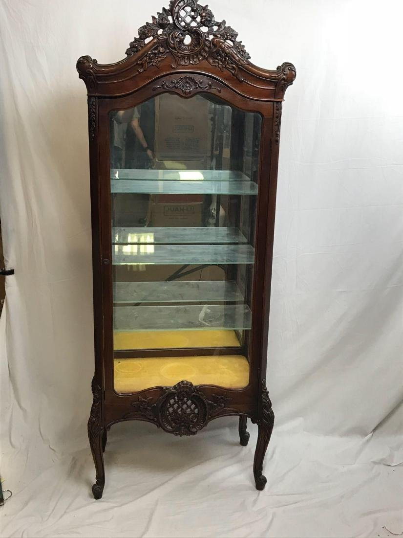 Antique Victorian Mahogany and Glass Curio Cabinet - 2