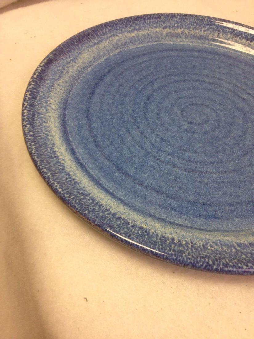handmade Stoneware Pottery Platter BIG BLUE MARBLE - 2
