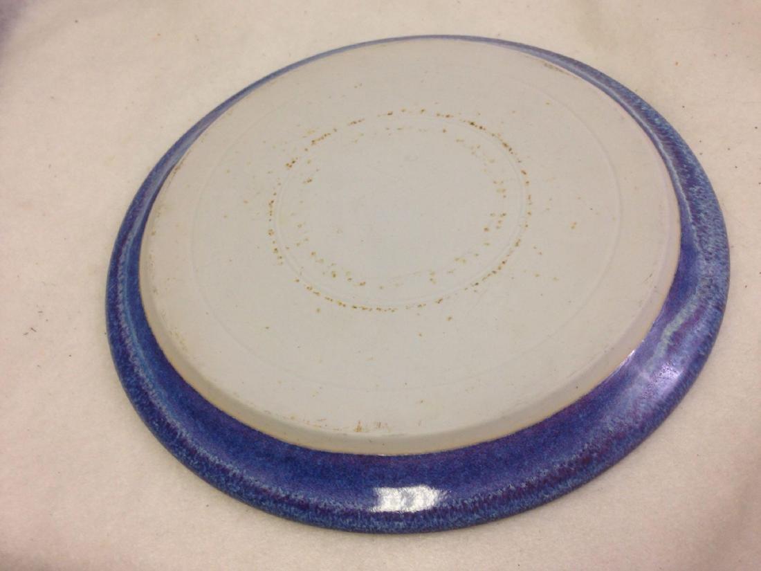 handmade Stoneware Pottery Platter BIG BLUE MARBLE - 3