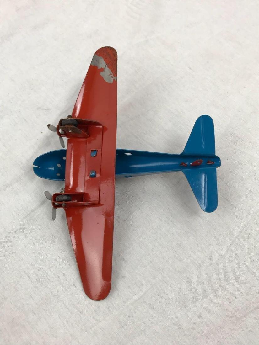 Vintage Pressed Steel Toy Airplane - 10