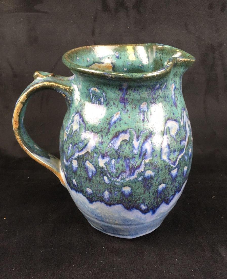 Ceramic Salt Glazed Earthenware Pitcher Marked - 2