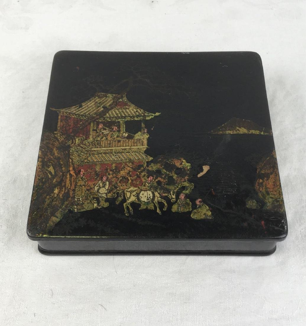 Antique Hand Painted Japanese Black Lacquer Box