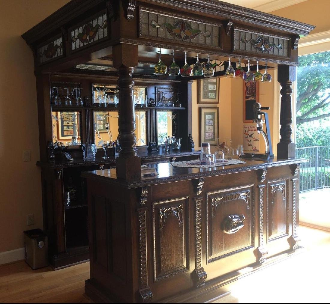 English Oak Canopy Bar with Stained Glass Panels