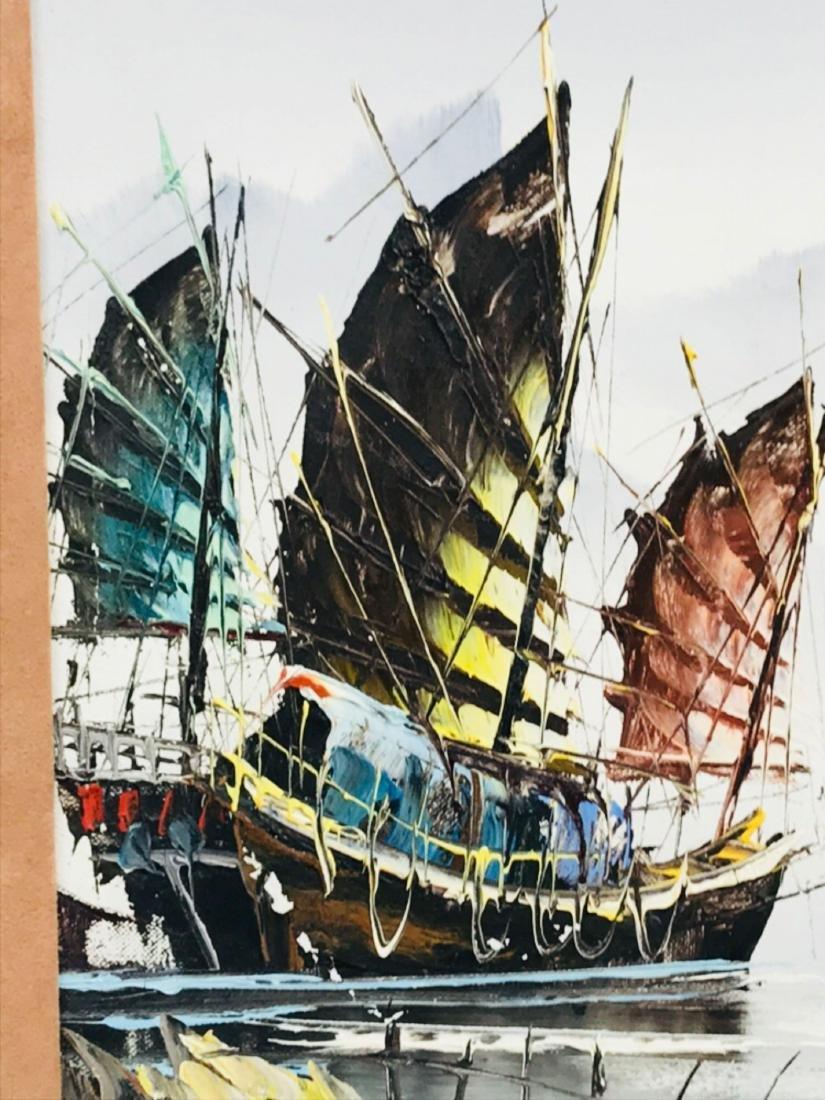 Vintage Original Oil Painting, Chinese Harbor Scene - 3