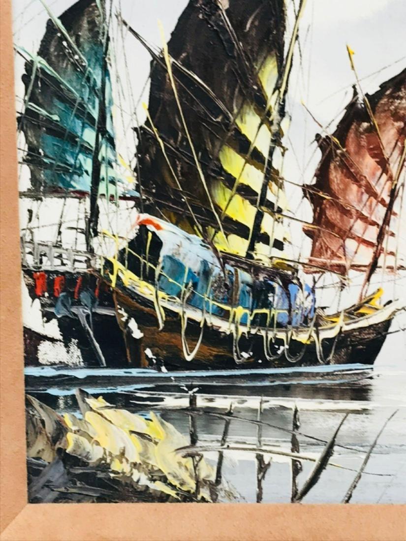 Vintage Original Oil Painting, Chinese Harbor Scene - 4