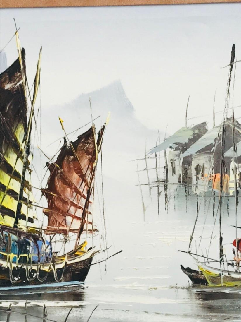 Vintage Original Oil Painting, Chinese Harbor Scene - 5
