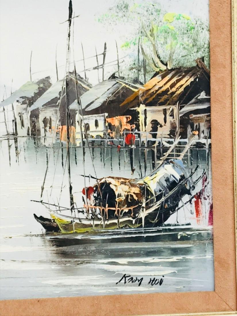 Vintage Original Oil Painting, Chinese Harbor Scene - 6