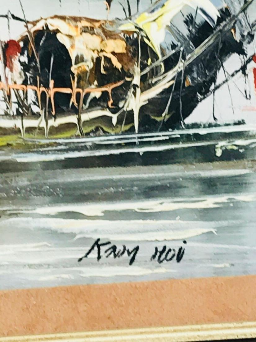 Vintage Original Oil Painting, Chinese Harbor Scene - 7