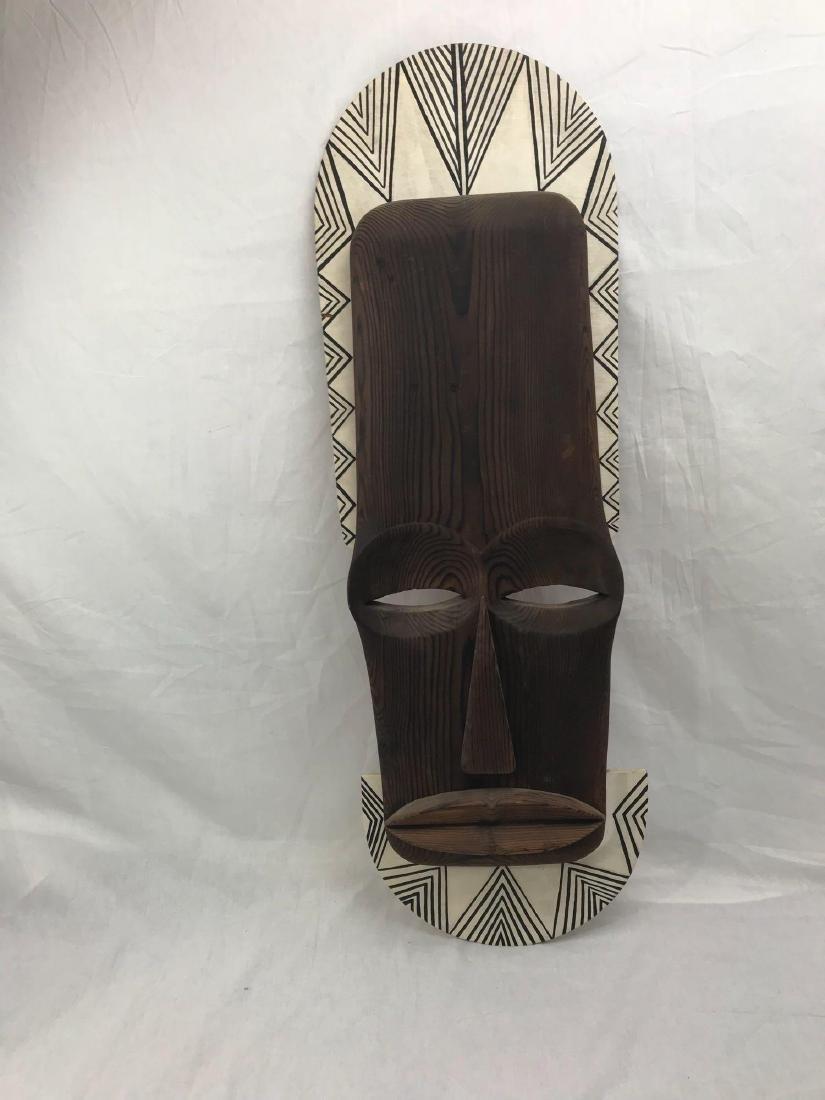 Vintage Carved Tribal Mask, Mounted - 4