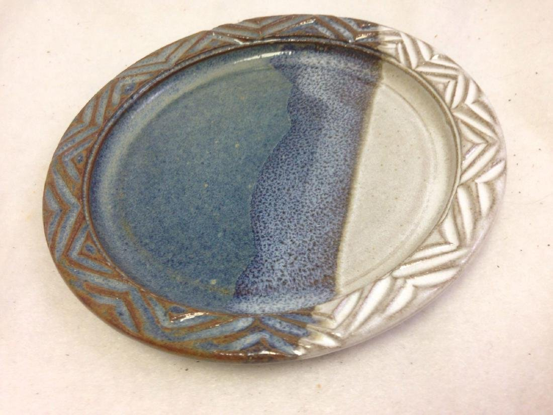 handmade Stoneware Pottery Plate white and blue with
