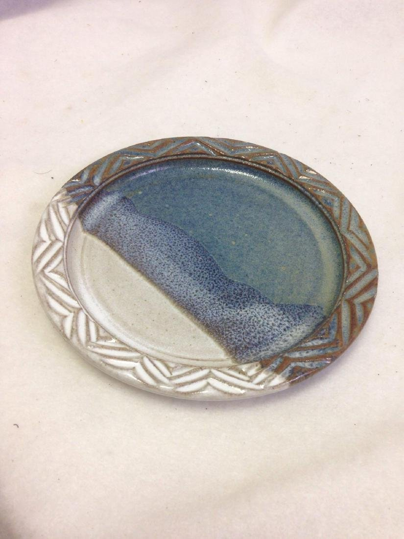 handmade Stoneware Pottery Plate white and blue with - 2