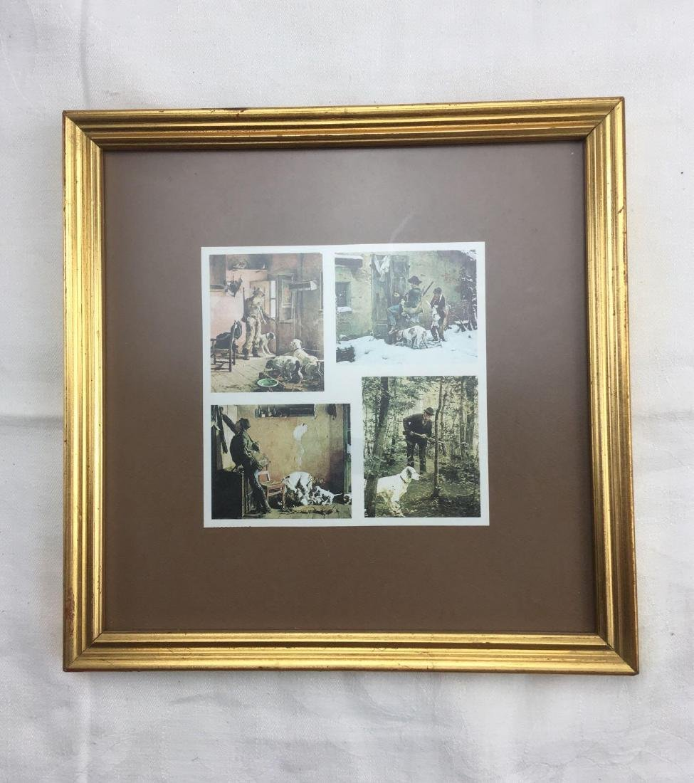 Vintage Small Framed Art From Italy, Hunting Scene