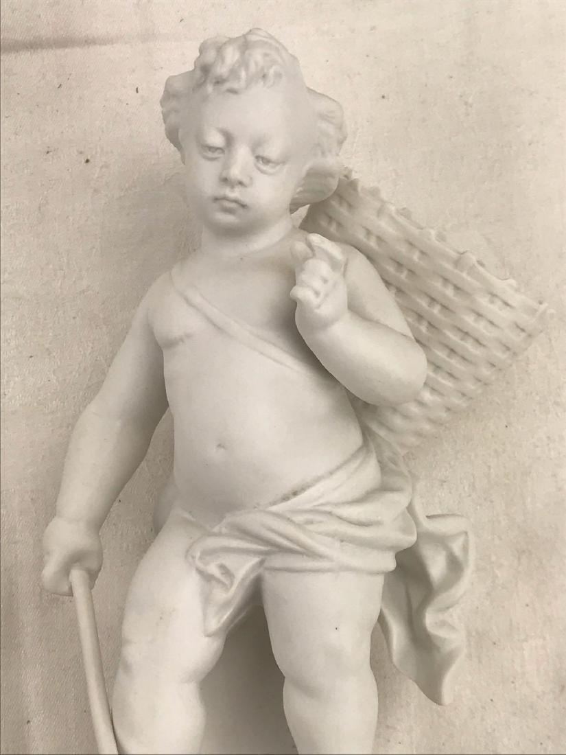 Vintage Porcelain Bisque Cherub Statue Figurine - 4