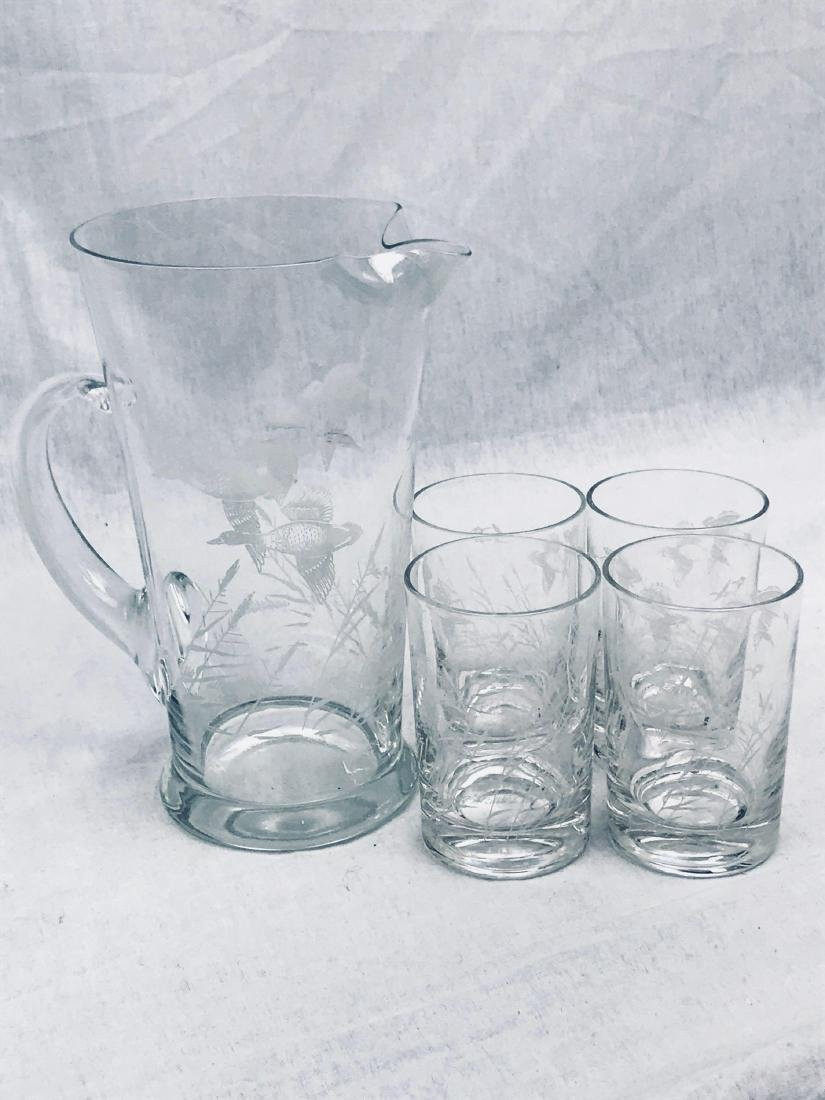 Mid-Century Modern Etched Flying Ducks Cocktail