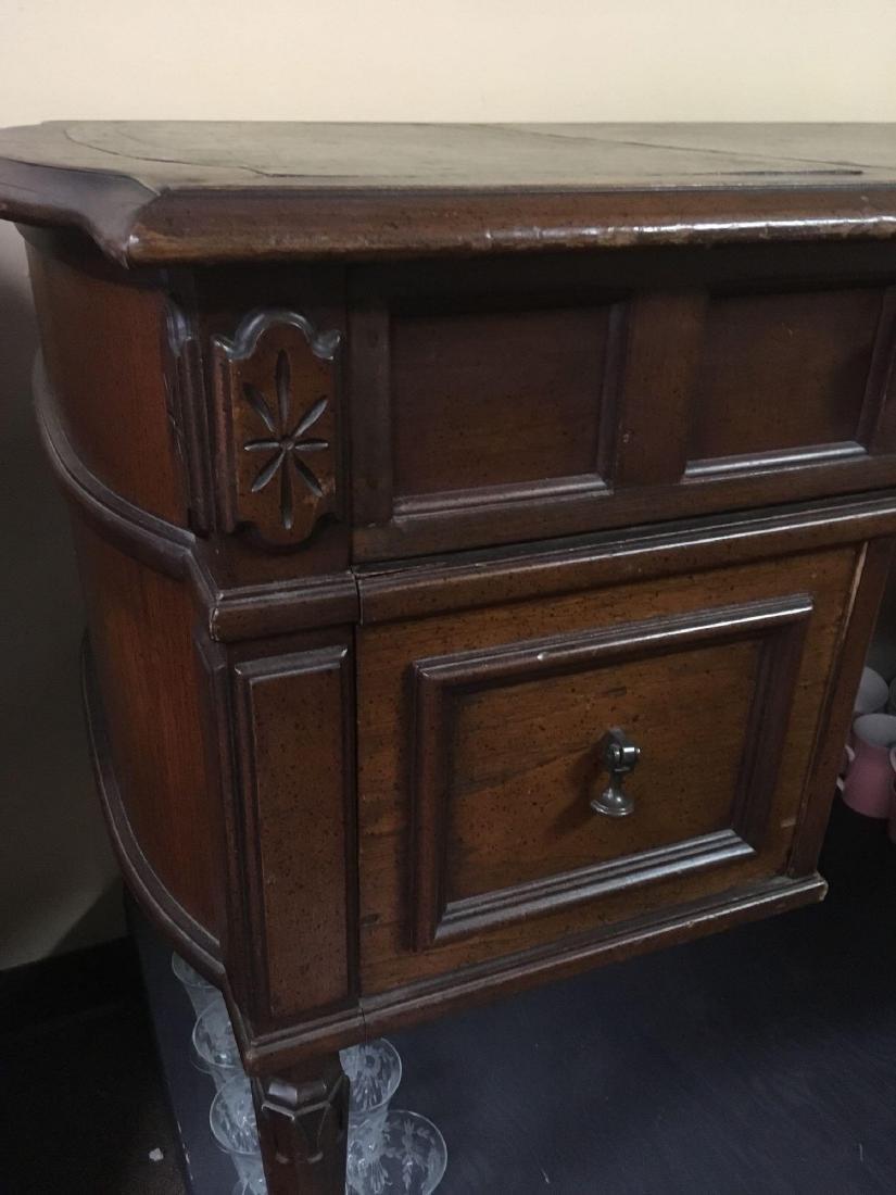Vintage Oak Leather Top Desk