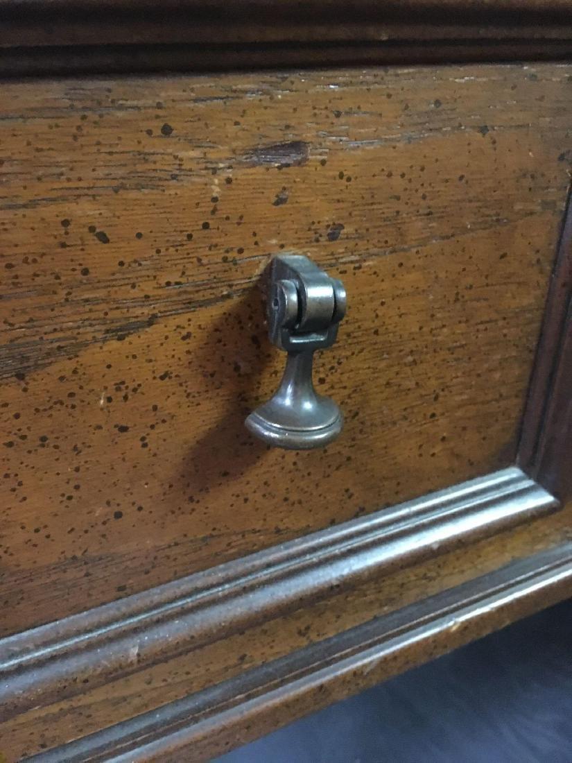 Vintage Oak Leather Top Desk - 3