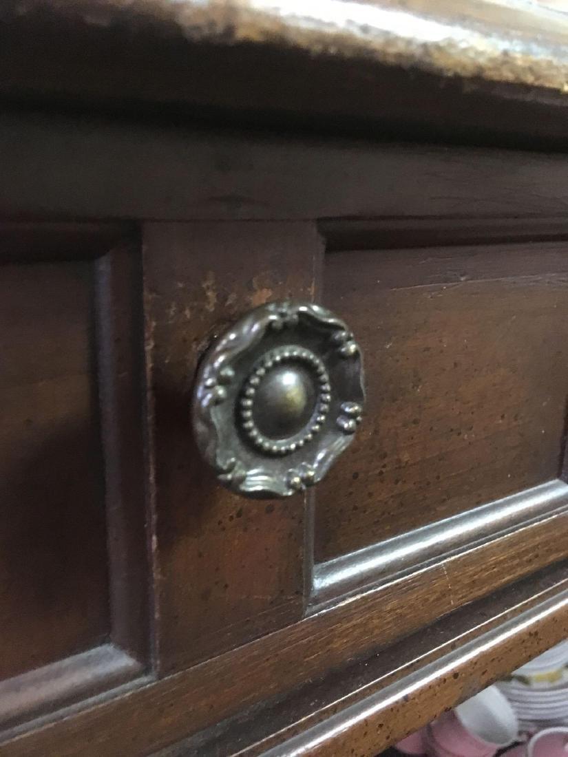 Vintage Oak Leather Top Desk - 4
