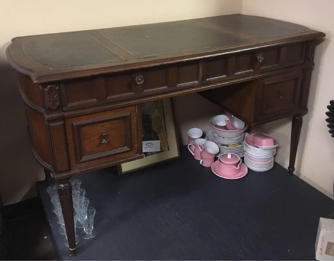 Vintage Oak Leather Top Desk - 5