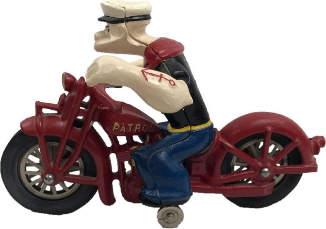 Vintage Cast Iron Hubley Popeye on Motorcycle Toy