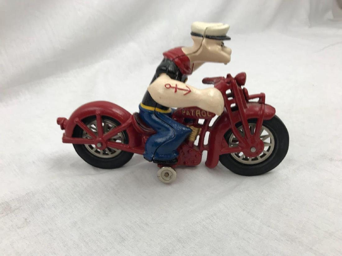 Vintage Cast Iron Hubley Popeye on Motorcycle Toy - 5