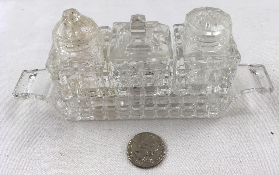 Vintage Pressed Glass Cruet Condiment Set