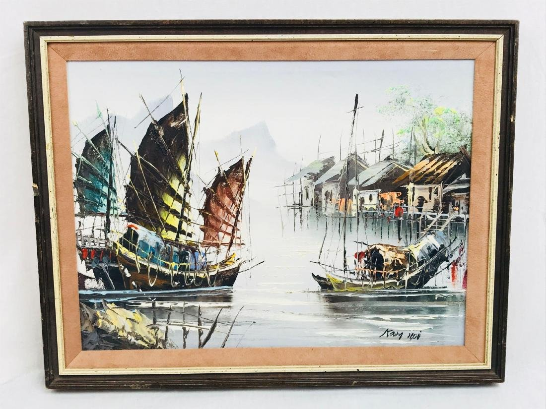 Vintage Original Oil Painting, Chinese Harbor Scene