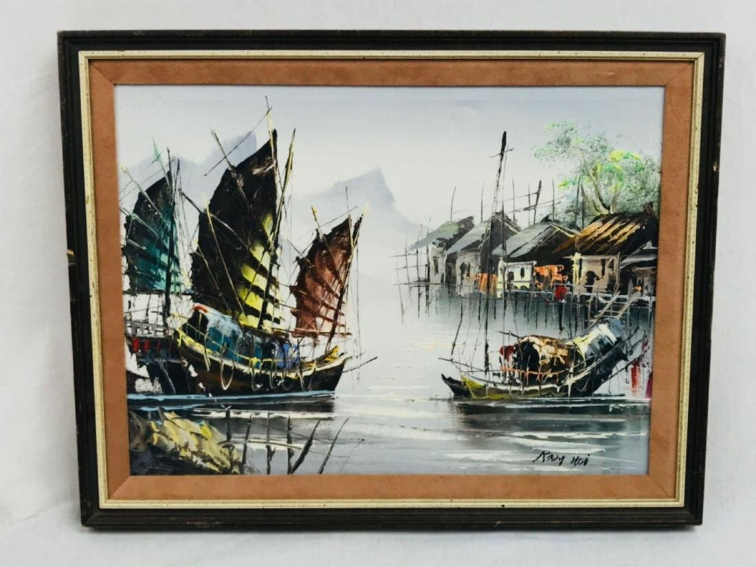 Vintage Original Oil Painting, Chinese Harbor Scene - 2