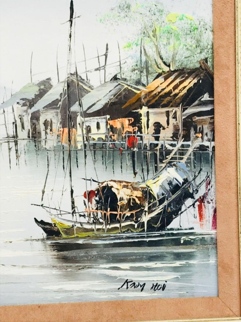 Vintage Original Oil Painting, Chinese Harbor Scene - 6