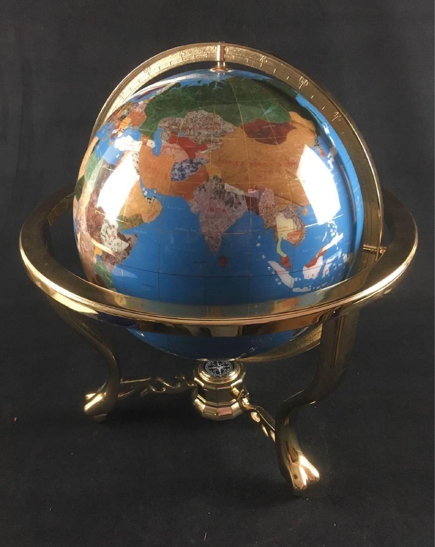 Marine Blue Gemstone Globe in Brass Mounting