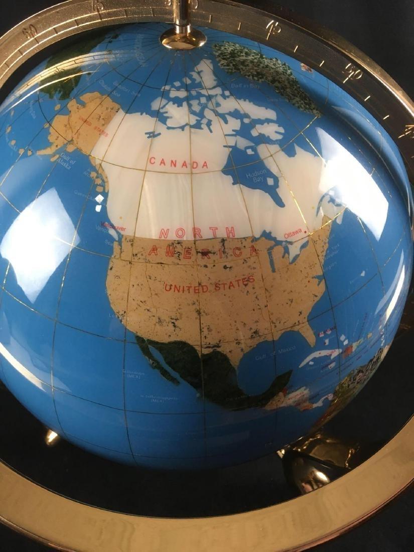 Marine Blue Gemstone Globe in Brass Mounting - 2
