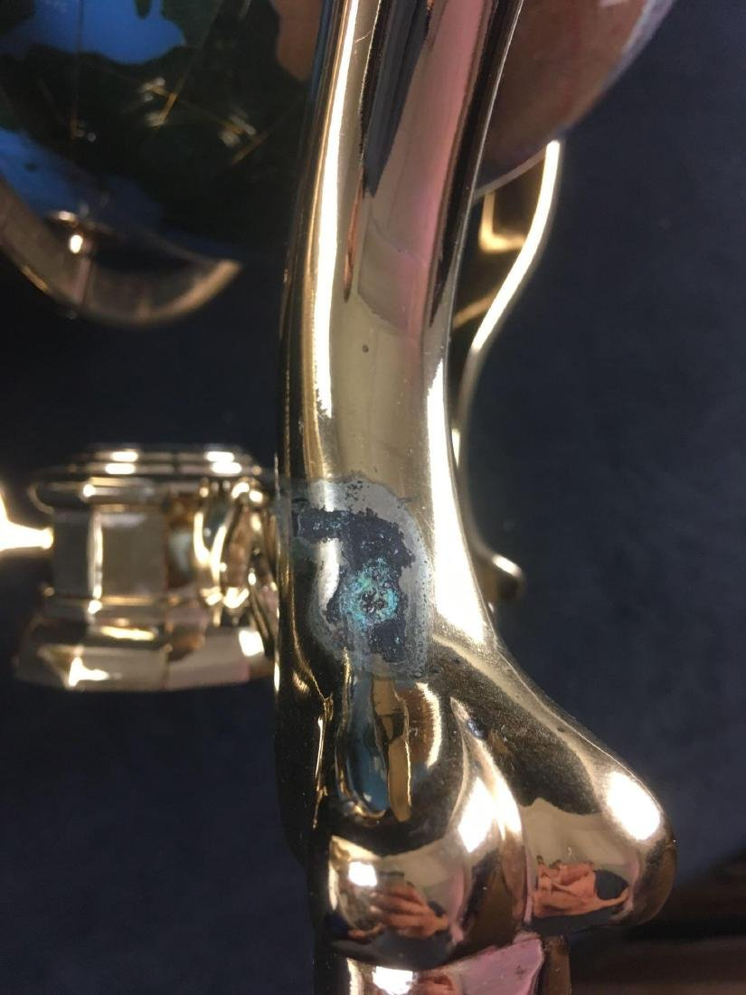 Marine Blue Gemstone Globe in Brass Mounting - 7