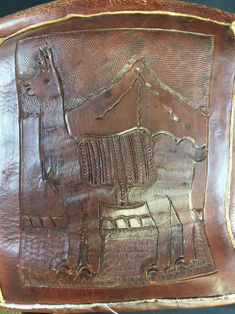 Vintage Peruvian Leather Stool - 5