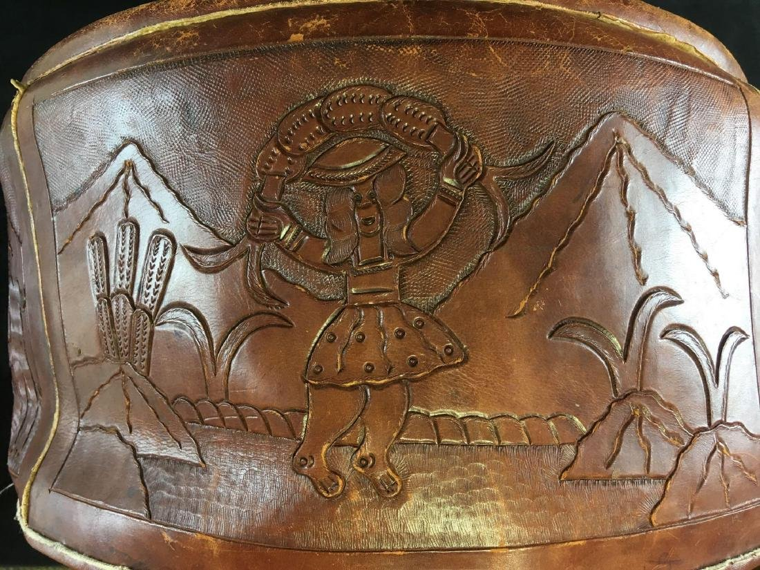 Vintage Peruvian Leather Stool - 6
