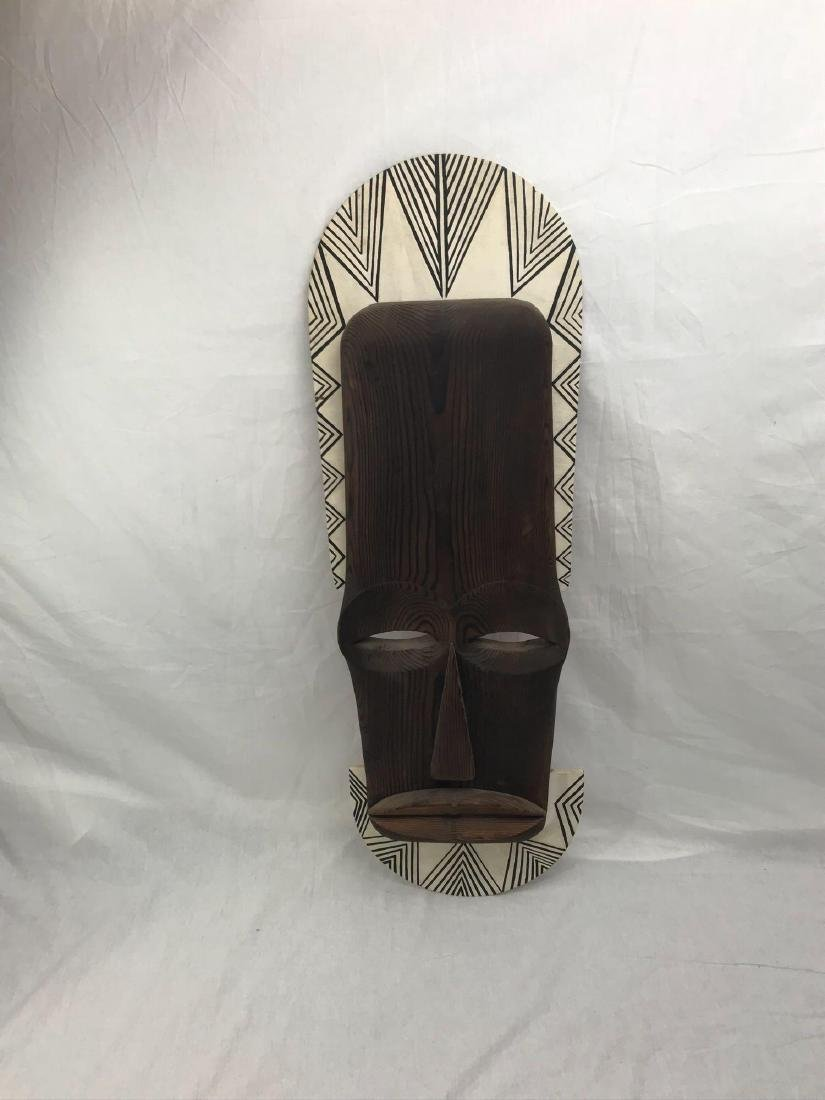 Vintage Carved Tribal Mask, Mounted - 3