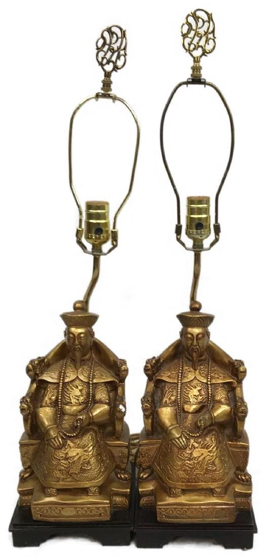 Pair of Sitting Confucius Table Lamps