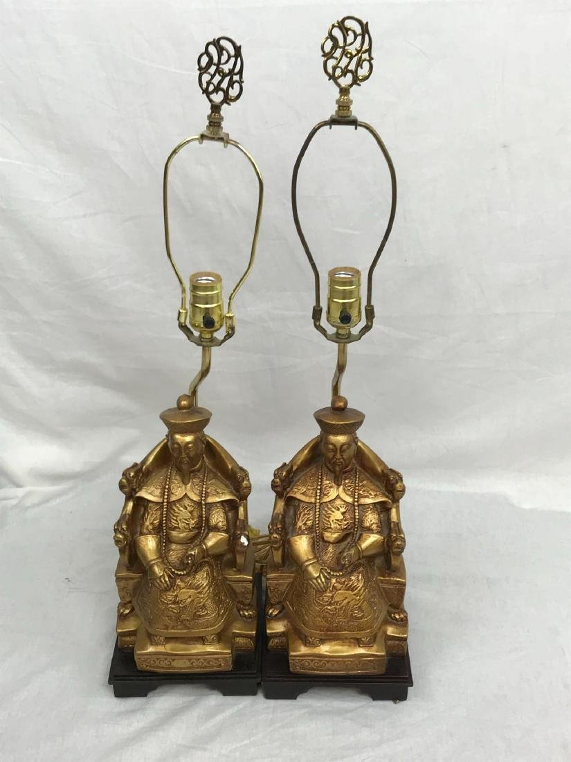 Pair of Sitting Confucius Table Lamps - 3